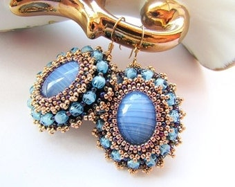 Bead Embroidered Blue Agate Earrings Embroidery Blue Gold Earrings Gold Filled Earring Hooks Beadwork Jewelry Ready to ship