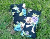 Skull Pouches, Purple and Blue Roses, Padded, Lavender Bags