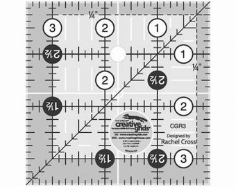 "3 1/2"" x 3 1/2"" Quilting Ruler Acrylic, Creative Grids USA w/ Embedded Gripper, Quilting Sewing Crafting"