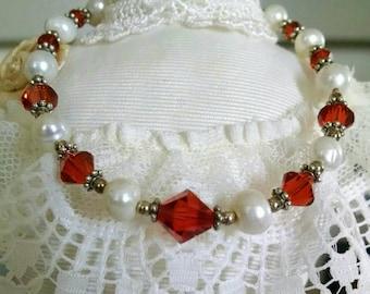 Fresh Water Pearl Padparscha Bracelet