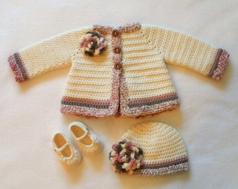Crocheted Baby Girl's Sweater Set Crocheted Baby Jacket Set Baby Girls Layette Crocheted Baby Hat Sweater and Booties Baby Girl's Set
