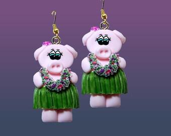 Hula Pig Earrings