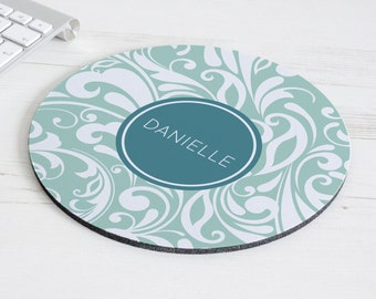 Swirl Print Mouse Mat – personalised mouse pad – round mousepad – desk decor - personalized graduation gift - coworker gift - p10