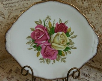 Queen Anne China  - Beautiful Rose Cake Plate with Handles called Sweet Sylvia  - Made in England