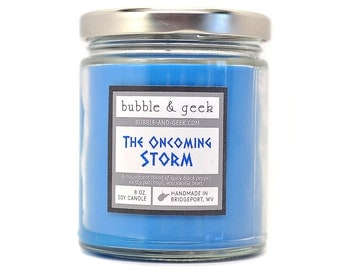 The Oncoming Storm Scented Soy Candle - 8 oz. - geek candle - patchouli, black pepper, vanilla bean