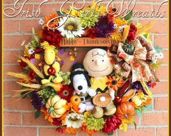 HOLIDAY 2016 PRE-ORDER-- A Charlie Brown Thanksgiving Wreath, Pilgrim Snoopy, Turkey Woodstock, Layaway Available, pumpkin pie, Peanuts