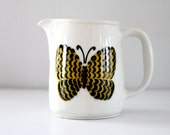 Vintage Arabia Finland Butterfly Pitcher Kaj Franck Design Yellow Cream 1960s