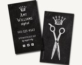 250+ Hair Stylist Business Cards -- Printed Business Cards -CHALKBOARD - scissors crown queen king