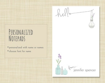 Personalized Hello Notepad - Personalized Note Pad - Rustic Vase Flowers