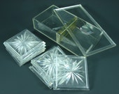 8 Lucite Coasters, Vintage Acrylic Coasters in Original Box, Dek-o-Coasters by Colony, Genuine Duracite Starburst Coaster