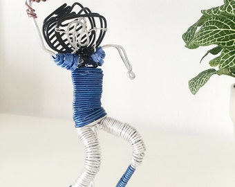 Wire Sculpture Football Player