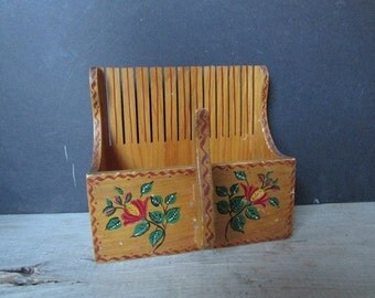 Wooden Letter Holder Vintage Mid Century Tole Painted Wood Box