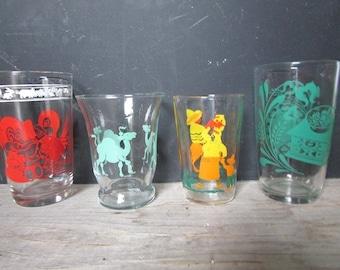 Mismatched  Juice Glasses Vintage Mid Century Glasses Set of 4