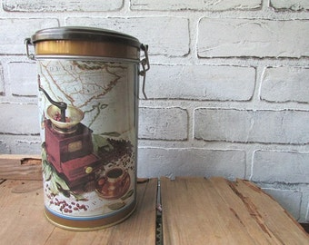 Kitsch Coffee Canister Vintage Tin Kitchen Canister Mod Mid Century