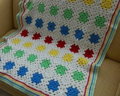 Afghan, quilt, blanket, primary colors, red, blue, green, yellow, baby, lap, size