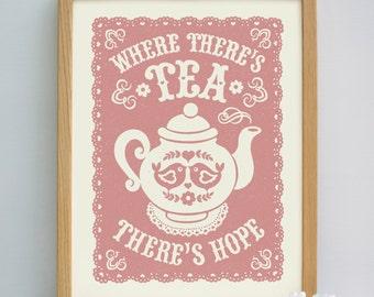 Tea Print | Teapot Print | Tea Gift | Cafe Art