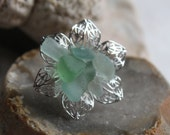 sea foam and aqua, pastel colors  sea glass flower stainless steel adjustable ring beach statement jewelry