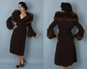 1930s Deco Drama coat | vintage 1930s brown wool princess coat with huge fur collar and cuffs | small