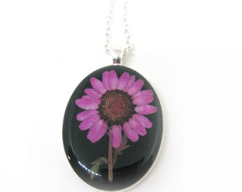 Pink Daisy with Stem Resin Pendant Necklace - Real flower encased in resin, Pressed Flower Jewelry - Resin Necklace - Flower Jewelry
