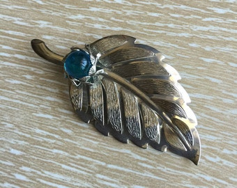 Silver-tone Vintage Leaf Brooch with Blue Stone