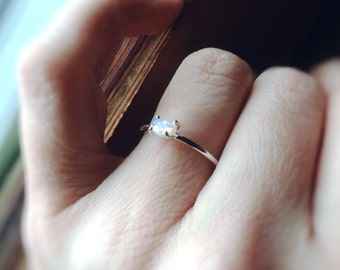 Opal Ring, Oval Opal, Stacking Ring, Sterling Silver Opal Ring, Natural Opal, Genuine Opal Ring, Simple, Minimal, Boho, Modern, Gypsy, Gift