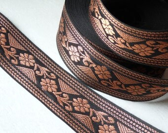 Black and copper sari trim - ONE yard, Indian metallic copper and black trim, Indian sari border, 36mm wide Indian sari trim - one yard.
