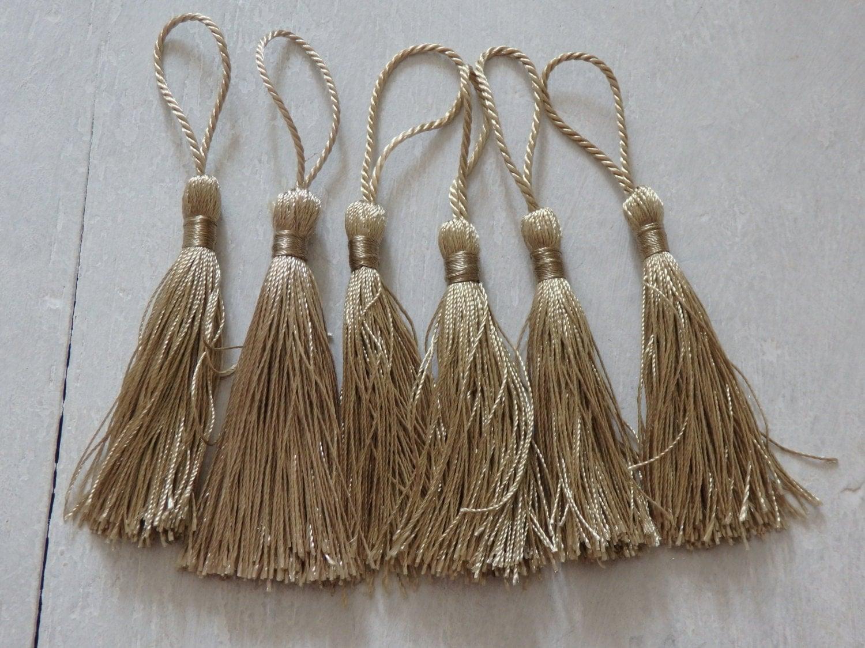 six silky tassels in beige gold tassels for malas jewelry
