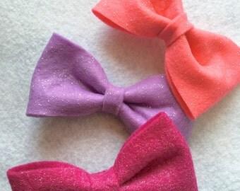 Pretty princess sparkle felt bow set
