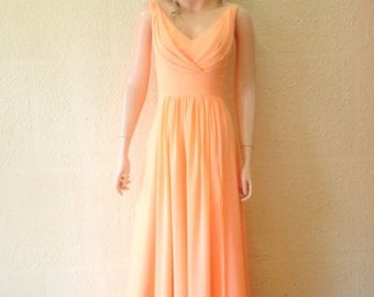 Peach Prom Dress. Peach Bridesmaid Dress. Maxi Dress.