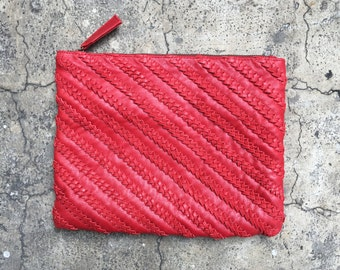 Bright Red Weaved Braided Calf Leather Zipper Pouch Leather Clutch