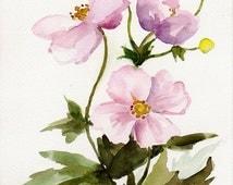 Japanese anemones, Original watercolor painting, Floral art, late summer flowers, pink flowers, autumn season,autumn flowers,flower painting
