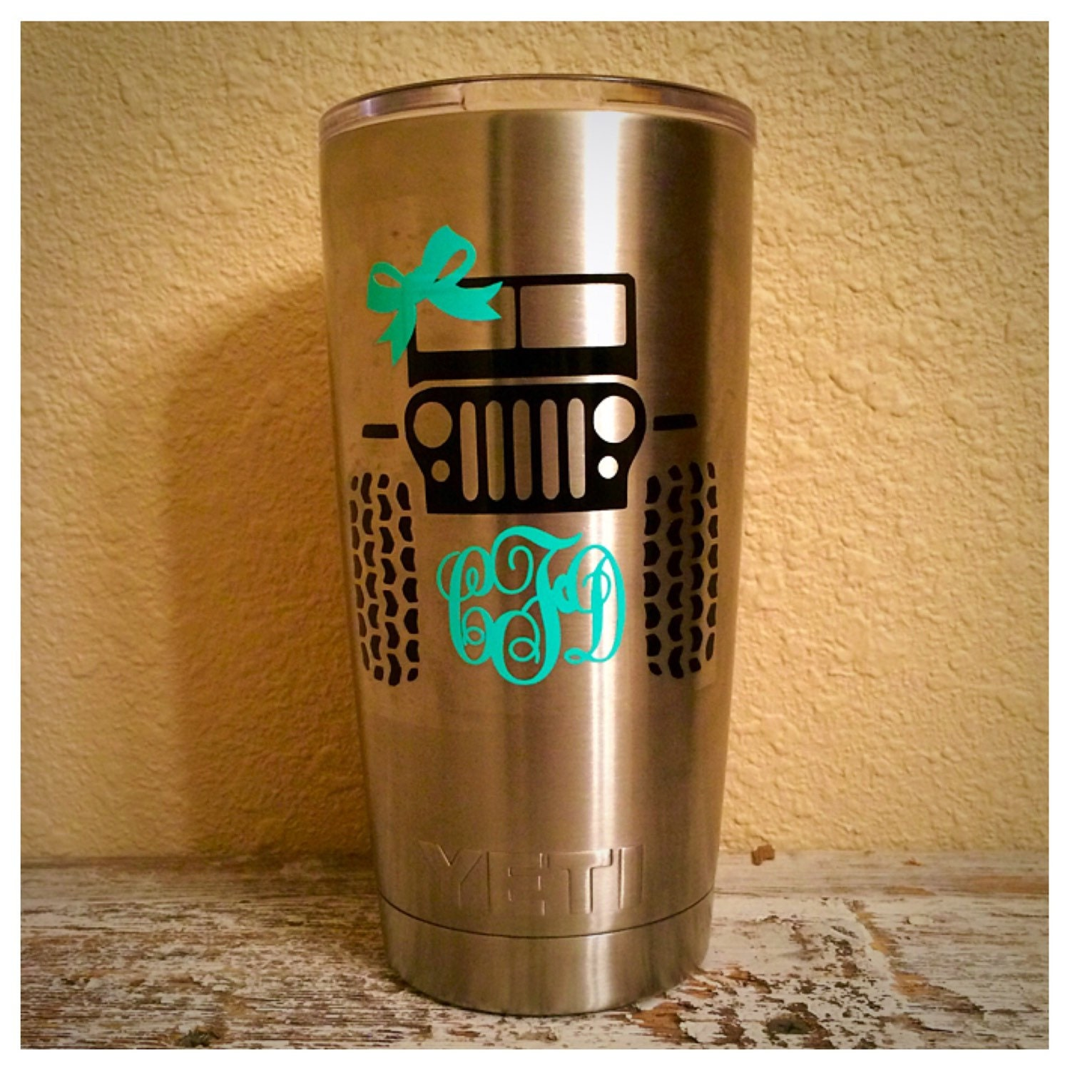 Jeep And Monogram Decal For YETI RTIC Rambler - Jeep vinyls for yeti cups