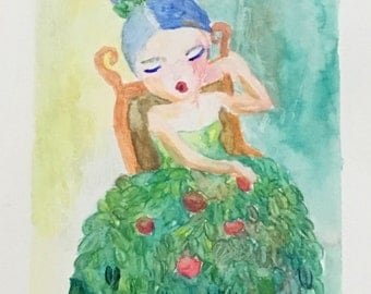 Original Watercolor Portrait Painting/ Illustration- The Apple Tree Girl