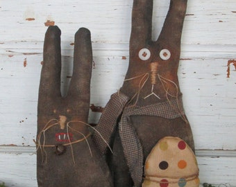 Made to Order ~Primitive Grungy Folk Art~  Spring Time Rabbit Bunnie Doll Set~HAFAIR Team