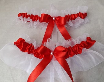 RED Wedding Garter Set - Tossing Garters - Jaretelle - Jaretiere - One Size & Plus Size