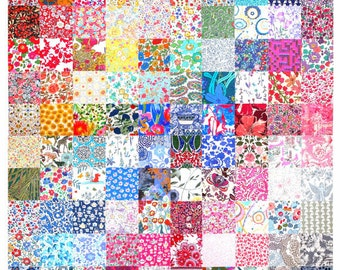 """Liberty Fabric 100 Mini Charm Quilt Squares 2.5"""" Ideal for Patchwork Quilting Floral Pattern Rainbow Liberty of London Cotton Tana Lawn"""