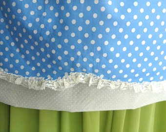 Polka dots Lace and Sheer Dotted Swiss Reversible Half Apron