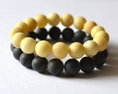 Amber Set 2 Amber Bracelets - set 15% off - Amber black and white - black white amber, Set of Two, amber bracelets