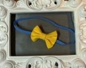 Yellow Bow and Soft Blue Elastic Newborn Headband