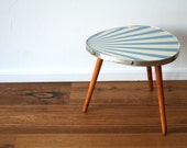 SALE 30% off! -  Mid Century sun ray coffee kidney triangle three leg table blue/cream (TA113)
