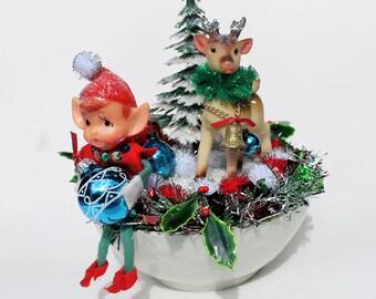 Retro Christmas Arrangement with Vintage Elf,Vintage Deer and Vintage Glitter Christmas Tree