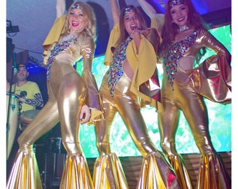 Seventies 70's theme gold shiny spandex rhinestones stage costume party dance suit