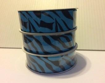"""7/8"""" Blue Zebra Grosgrain Ribbon"""