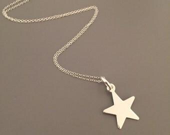Star Charm Necklace - Sterling Silver, Pretty Star Charm, Jewellery, Necklace, Star, Pendant, Handmade UK, SLJewellery