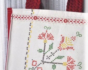 JOY! Tote, Vintage Cross-stitch made with Joy now Repurposed Joyfully into a tote to hold your JOY projects! Cottage Chic, Upcycled, OOAK!