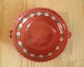 vintage Mexican hand painted pottery bowl