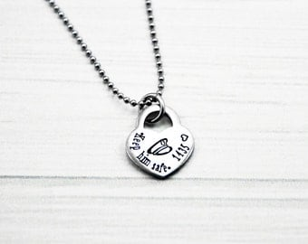 Keep Him Safe - Hand Stamped Stainless Steel Heart Lock Necklace - LEO Jewelry - Police Wife, Mother, Girlfriend, Fiancee, Daughter