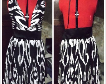One of a kind ikat silk halter dress
