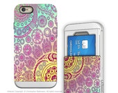 Apple iPhone 6 6s Card holder Case with Pastel Paisley Art - Cotton Candy Mehndi - Credit Card Apple iPhone 6s Case with Rubber Sides