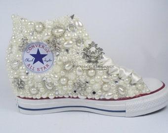 Ivory OR White WEDGE Pearl Custom Converse US 5 6 7 8 9 10